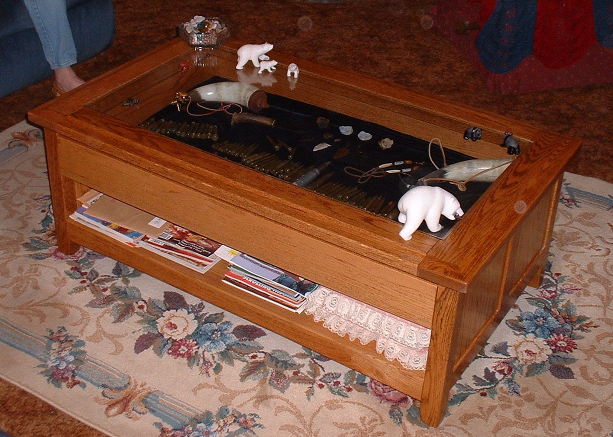 Red oak coffee table with display drawer